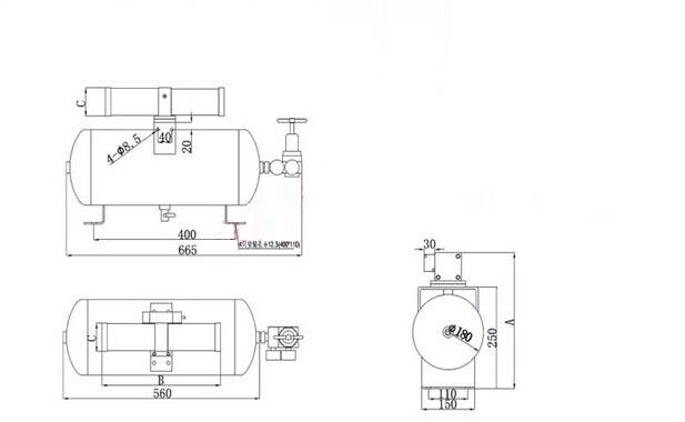 压缩空气泵缓冲罐尺寸